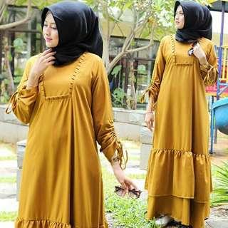 Dress Wanita Zakia (mustard) 3 Warna