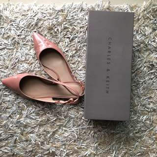 Charles & Keith Blush Pointed Flats