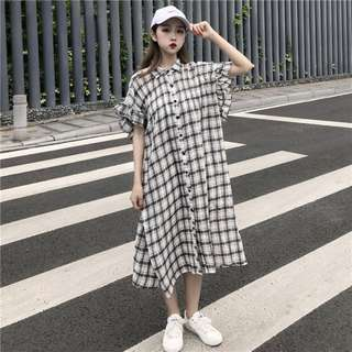韓版寬鬆顯瘦格子小飛袖中長款襯衫連衣裙長裙(2色)