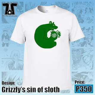 Nanatsu No Taizai Anime Grizzly's Sin of Sloth White T-Shirt