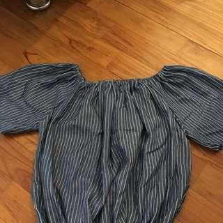 Bn Blue Striped Off Shoulder Top