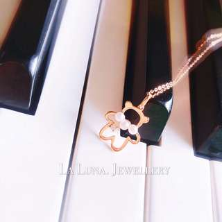 天然淡水養珠鑽石可愛小熊18k金頸鏈🎁生日禮物520女朋友閨蜜禮物推薦