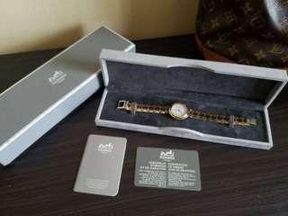 Authentic Hermes Clipper Junior Mid Size Two Tone Steel Quartz Watch