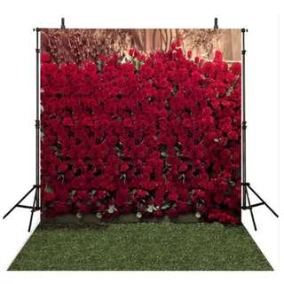 3D Red Rose Flower Wall Printed Vinyl Photobooth Backdrop