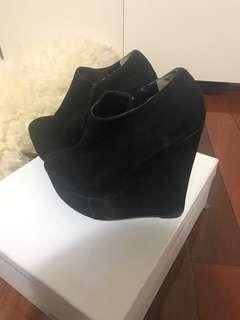Tony bianco black wedge boots size 5