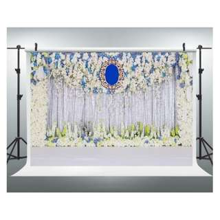 Blue White Silver Themed Floral Flower Printed Photobooth Backdrop