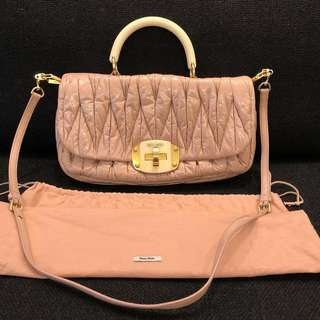 Miu Miu Prada dusty pink handbag leather bag 手袋