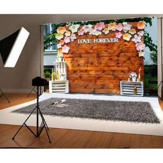 Vintage Wood Floral Love Forever Printed Vinyl Photobooth Backdrop