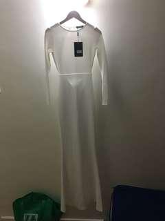Floor Length White Backless Dress