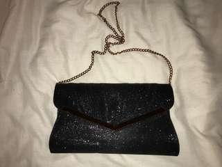 Colette black glitter clutch
