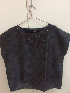Zara Navy Top with Beads