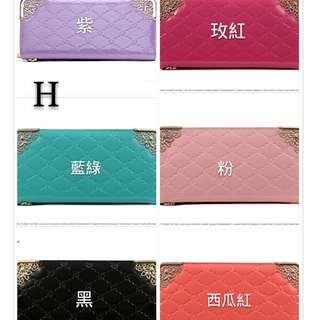 🚚 新款韓版女士金屬包角亮面拉鍊零錢位手拿包皮包錢夾長夾
