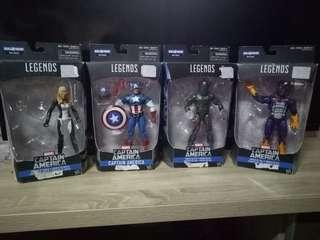 Marvel legends captain america,whirlwind,mockingbird,cottonmouth..