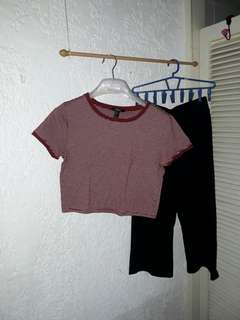 F21 Cropped Top + Culottes