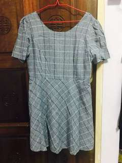 Checkered Babydoll Dress