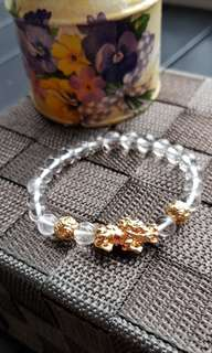 High Quality Gold Plated Pixiu and Clear Quartz Bracelet (Promotion price)