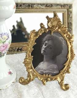 Antique Bronze Oval Picture Frame.