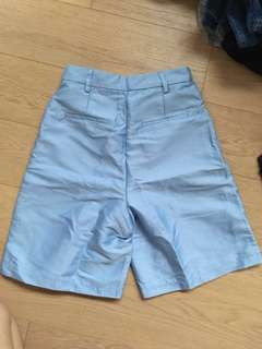 A FOR ARCADE Periwinkle Satin Shorts