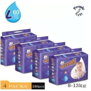 Whoopee Premium Diaper L60 (4 pack)