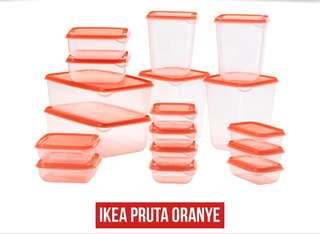 IKEA Pruta Tempat Kontainer Makanan Isi 17 Pcs, Orange