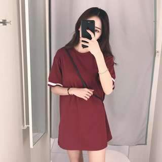 Free Postage: Red Wine Casual Dress