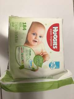 Huggies 天然加厚嬰兒濕紙巾 184片補充裝