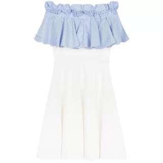 女神一字肩藍白Ruffle連身裙