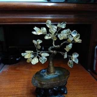 黃晶樹~瑪瑙底座