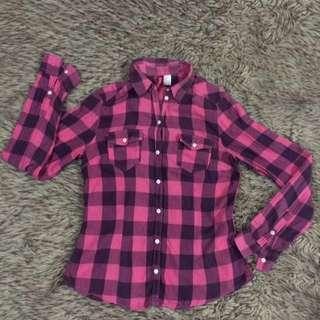 H&M divided pink tartan shirt