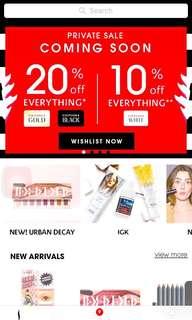 Sephora 20% member private sales