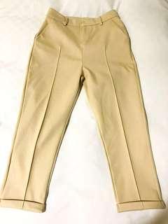 🚚 ✨全新轉賣✨韓國加厚毛呢顯瘦直筒闊腿西裝褲/米色