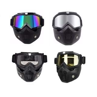 Motorcycle Safety Goggles Airsoft Paintball Detachable Uni Mask with Goggles