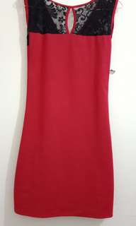 Dress scuba merah hitam