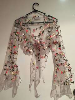 White Mesh Long Sleeve Top With Flowers