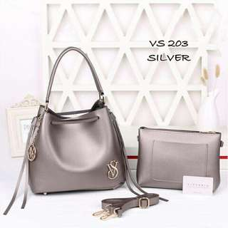 Victoria Secret 2 in 1 Bag Silver Color