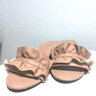 [Worn once] Open toe ruffle slipper block heels
