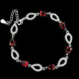 925 STERLING Silver Bracelet red white plated white gold mother gift