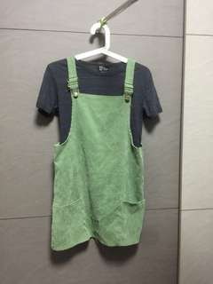 Green ribbed overall romper dress