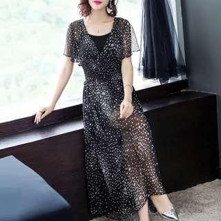 Silk blended star prints maxi chiffon dress with slip