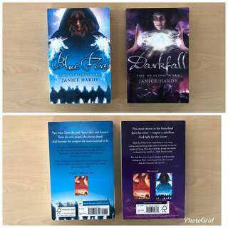 The Healing War series by Janice Hardy - (a) Dark Fall, (b) Blue Fire