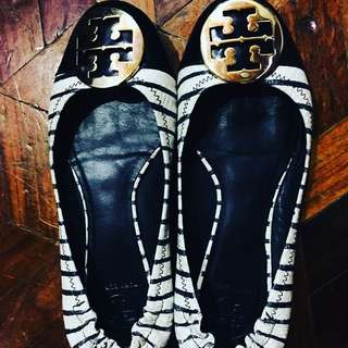 Tory Burch Serena 2 Snake Embossed Striped Ballet Flats Authentic shoes