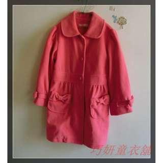 二手粉紅長版厚大衣 150CM~160Cm