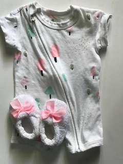 Newborn playsuit + shoes