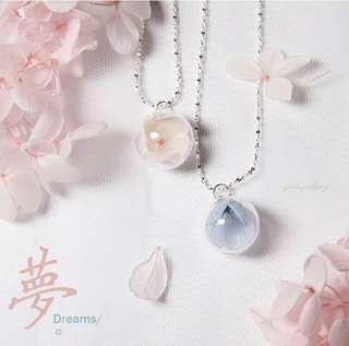 925 silver Necklace with Preserved Flower