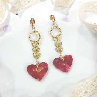• Red Heart • Handmade Earstuds Earrings • Dangling
