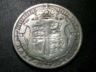 1922 UK King George V Silver Half Crown Coin