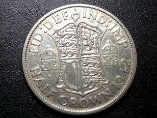 1942 Silver Half Crown from Great Britain King George VI