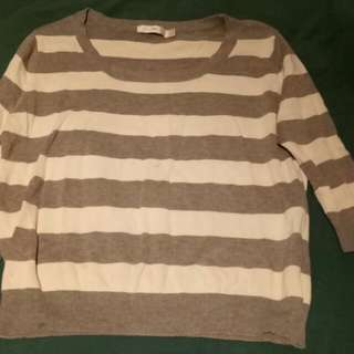 Quirky Circus Size 12 Grey And White Striped Top Knit 100% Cotton Top