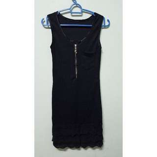 BN Pocket Front Slim Black Dress