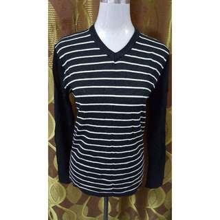 Stripes Long Sleeved Black Top